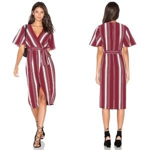 LOVERS + FRIENDS Fremont Striped Wrap Dress